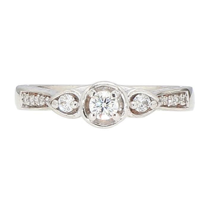 "DIAMOND ENGAGEMENT RING- 10K WHITE GOLD  3.2G  0.50CT TDW  SIZE 6.50"""