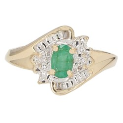 """EMERALD RING- 14K YELLOW GOLD