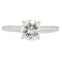 SOLITAIRE DIAMOND ENGAGEMENT RING- 14K WHITE GOLD| 1.01CT TDW| SIZE 5.50""