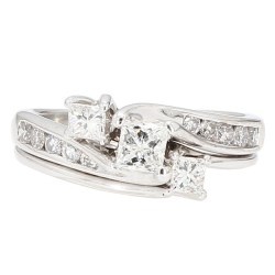 "DIAMOND BRIDAL SET- 14K WHITE GOLD| 5.6G| 1.25CT TDW| SIZE 7.25"""
