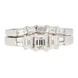 "DIAMOND BRIDAL SET- 14K WHITE GOLD  7.5G  1.00CT TDW  SIZE 7.75"""