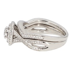 "DIAMOND BRIDAL SET- 14K WHITE GOLD| 7.5G| 1.50CT TDW| SIZE 6.75"""