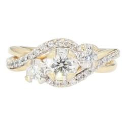 "DIAMOND ENGAGEMENT RING- 14K YELLOW GOLD| 3.8G| 1.00CT TDW| SIZE 3.75"""