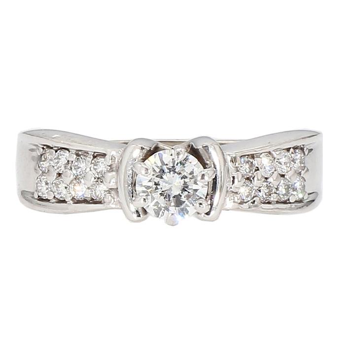 "DIAMOND ENGAGEMENT RING- 14K WHITE GOLD  4.5G  0.45CT(C)  0.85CT TDW  SIZE 9.50"""