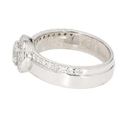 "DIAMOND ENGAGEMENT RING- 14K WHITE GOLD| 7.7G| 0.50CT(C)| 1.05CT TDW| SIZE 8"""