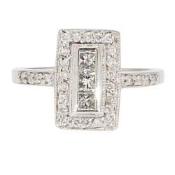 """DIAMOND RING- 14K WHITE GOLD  5.2G  0.75CT TDW  SIZE 8.75"""""""