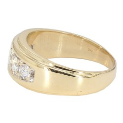 "MENS WEDDING BAND- 14K YELLOW GOLD  10.7G  1.50CT TDW  SIZE 10.75"""