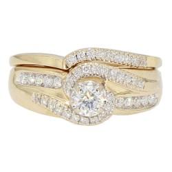"DIAMOND BRIDAL SET- 14K YELLOW GOLD  6.9G  1.00CT TDW  SIZE 7.50"""