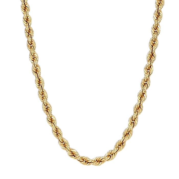 """ROPE NECKLACE- 14K YELLOW GOLD  10.6G  LENGTH 20"""""""