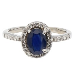 """BLUE SHAPPHIRE RING- 10K WHITE GOLD
