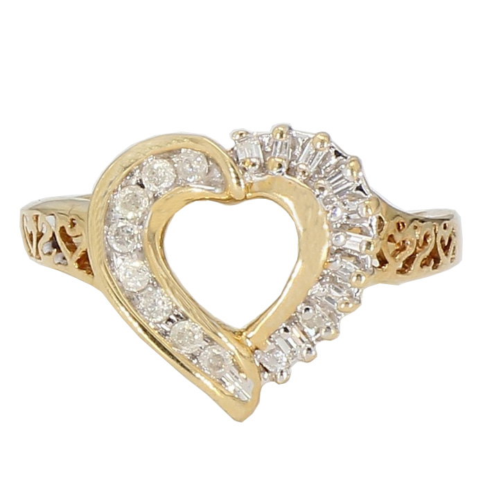DIAMOND PROMISE RING- 10K YELLOW GOLD| 2.5G| SIZE 6""