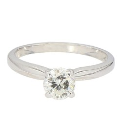 SOLITAIRE DIAMOND ENGAGEMENT RING- 14K WHITE GOLD| 1.6G| 0.50CT TDW| SIZE 3.75""