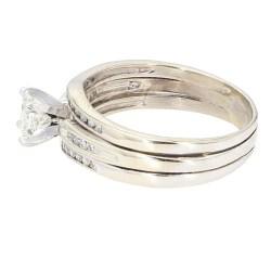 """IGI CERTIFIED DIAMOND BRIDAL SET- 14K GOLD  6.7G  0.55CT(C)  1.00CT TDW  SIZE 10.50"""""""