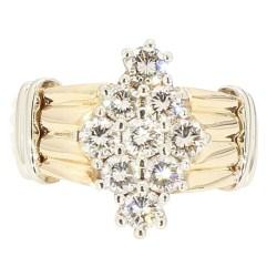 "DIAMOND RING- 10K YELLOW GOLD  5.1G  1.08CT TDW  SIZE 6.25"""