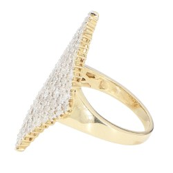 "FANCY DIAMOND RING- 10K YELLOW GOLD| 3.00CT TDW| 7.8G| SIZE 10.25"""