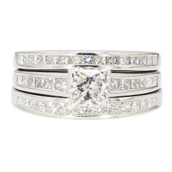 "DIAMOND BRIDAL SET- 14K WHITE GOLD| 7.8G| 0.75CT(C)| 2.00CT TDW| SIZE 6.25"""