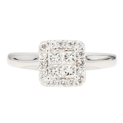 "DIAMOND ENGAGEMENT RING- 10K WHITE GOLD  3.1G  0.55CT TDW  SIZE 5.75"""
