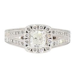 "DIAMOND ENGAGEMENT RING- 14K WHITE GOLD| 5.6G| 0.65CT(C)| 1.50CT TDW| SIZE 7"""