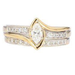 "DIAMOND BRIDAL SET- 14K WHITE GOLD| 6.7G| 1.10CT TDW| SIZE 9"""