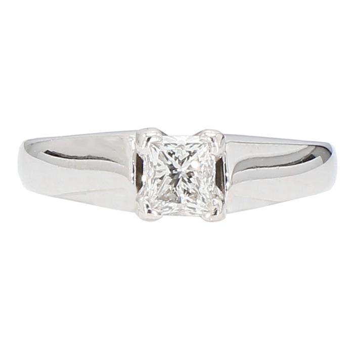 "DIAMOND ENGAGEMENT RING- 14K WHITE GOLD| 3.7G| 0.50CT TDW| SIZE 5"""