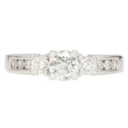 "DIAMOND ENGAGEMENT RING- 18K WHITE GOLD| 4.7G| 0.50CT(C)| 1.00CT TDW| SIZE 7"""