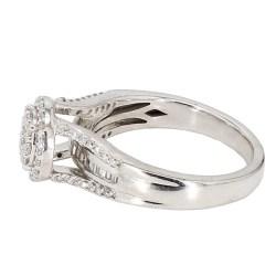 "DIAMOND ENGAGEMENT RING- 10K WHITE GOLD  5.5G  1.00CT TDW  SIZE 7"""