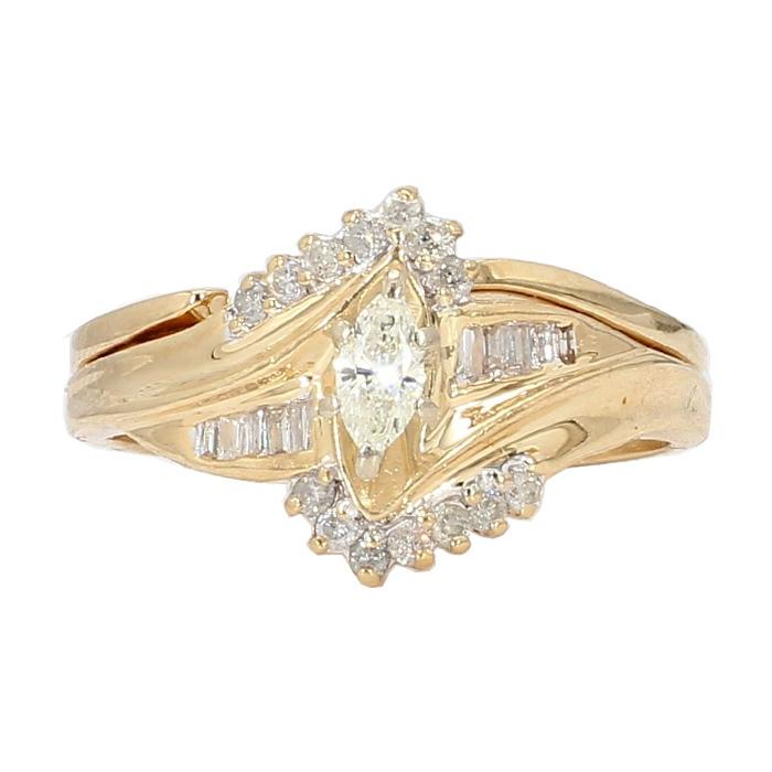 "DIAMOND BRIDAL SET- 14K YELLOW GOLD| 5.5G| SIZE 10"""