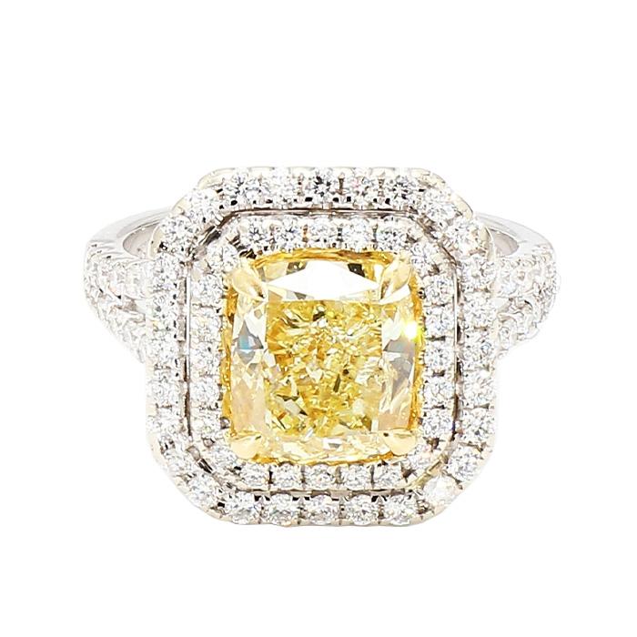 "GIA CERTIFIED DIAMOND ENGAGEMENT RING- 18K WHITE GOLD| 7.7G| 3.03CT(C)| 5.00CT TDW| SIZE 6.25"""