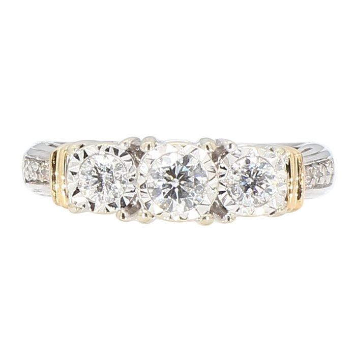 "DIAMOND ENGAGEMENT RING- 14K WHITE GOLD  3.2G  SIZE 5"""