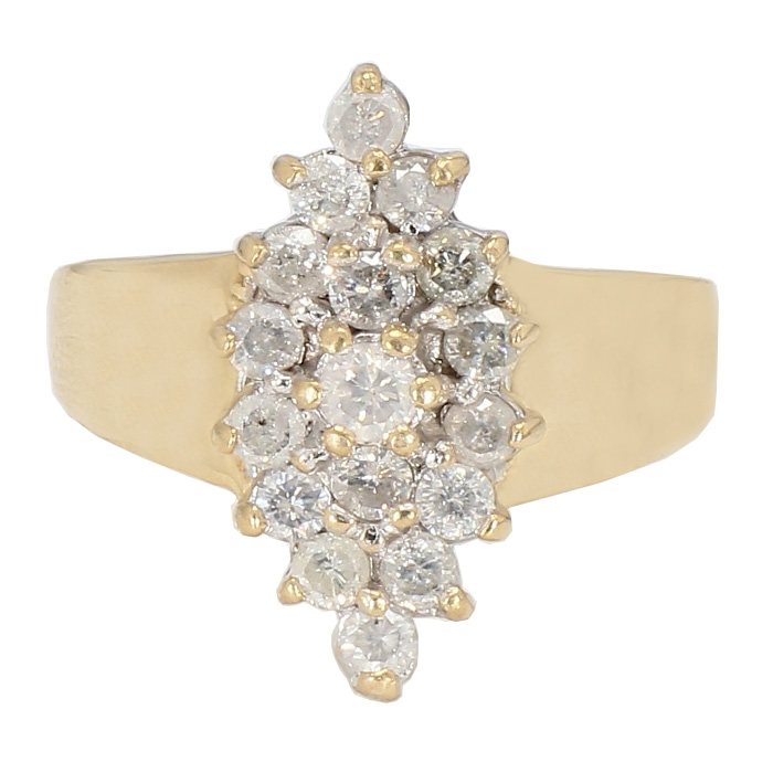 "DIAMOND RING- 10K YELLOW GOLD| 4.8G| 1.00CT TWD| SIZE 9"""