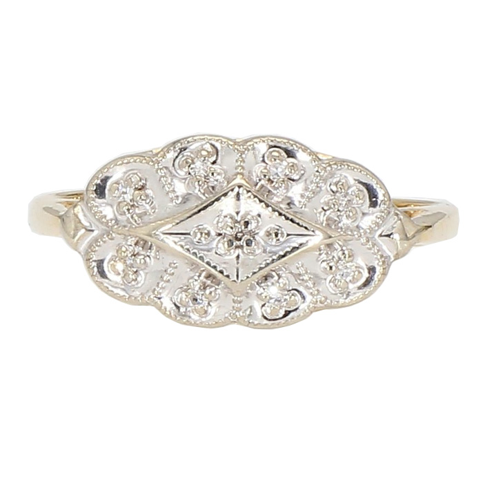 "DIAMOND RING- 14K YELLOW GOLD| 2.8G| SIZE 7.75"""