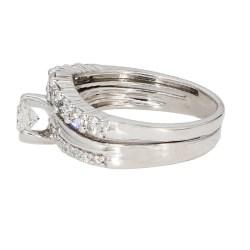 "DIAMOND BRIDAL SET- 14K WHITE GOLD| 5.8G| 0.80CT TDW| SIZE 6.50"""