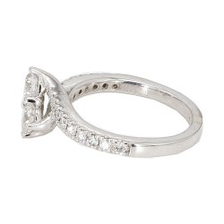 "DIAMOND ENGAGEMENT RING- 14K WHITW GOLD| 3.2G| 1.00CT TDW| SIZE 5.25"""