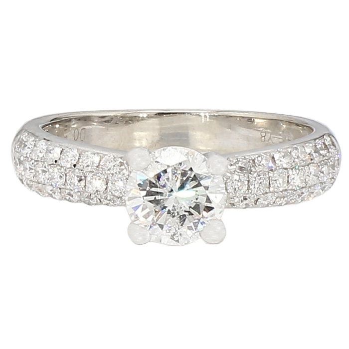 DIAMOND ENAGEGAMENT RING- 14K WHITE GOLD| 3.6G| 0.85CT(C)| 1.50CT TDW| SIZE 6""
