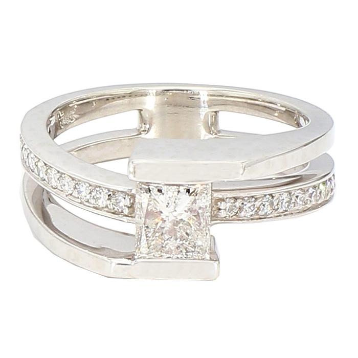 "DIAMOND ENGAGEMENT RING- 14K WHITE GOLD  6.6G  1.03CT TDW  SIZE 6"""
