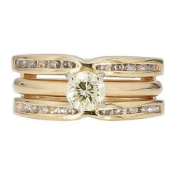 "DIAMOND BRIDAL SET- 14K YELLOW GOLD  6.2G  3/4THCT TDW  SIZE 6"""