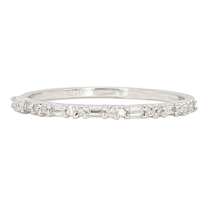 "DIAMOND WEDDING BAND- 14K WHITE GOLD| 1.3G| SIZE 8"""