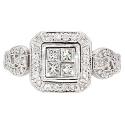 "DIAMOND ENGAGEMENT RING- 14K WHITE GOLD  5.6G  1.50CT TDW  SIZE 6.25"""