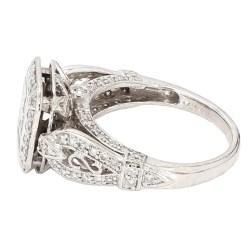 "DIAMOND ENGAGEMENT RING- 14K WHITE GOLD| 5.6G| 1.50CT TDW| SIZE 6.25"""