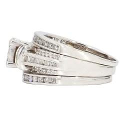 "DIAMOND BRIDAL SET- 10K WHITE GOLD| 7.7G| 1.50CT TDW| SIZE 7.50"""