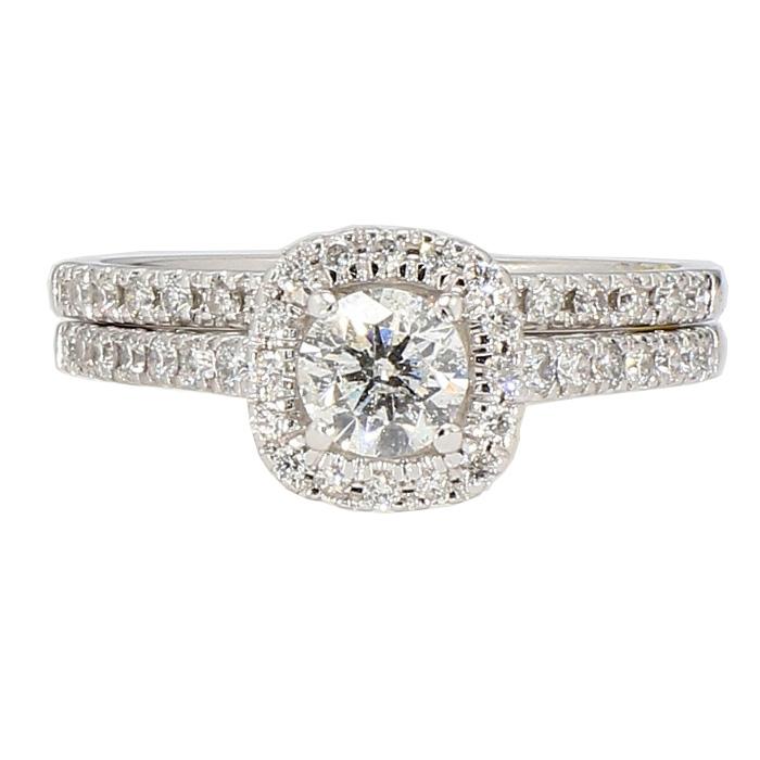 "DIAMOND BRIDAL SET- 14K WHITE GOLD| 4.8G| 0.50CT(C)| 1.25CT TDW| SIZE 7"""