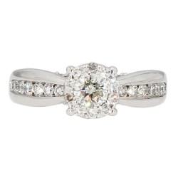 "DIAMOND ENGAGEMENT RING- 14K WHITE GOLD  4.6G  1.00CT TDW  SIZE 3.75"""
