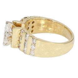 "DIAMOND  ENGAGEMENT RING- 14K YELLOW GOLD| 5.3G| 0.50CT TDW| 1.00CT TDW| SIZE 4.25"""